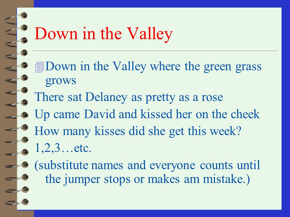 Down in the Valley Down in the Valley where the green grass grows