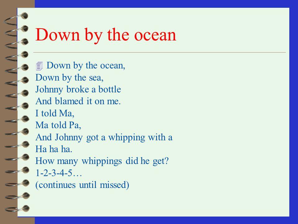 Down by the ocean Down by the ocean, Down by the sea,