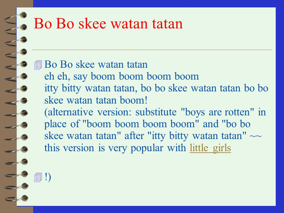 Bo Bo skee watan tatan