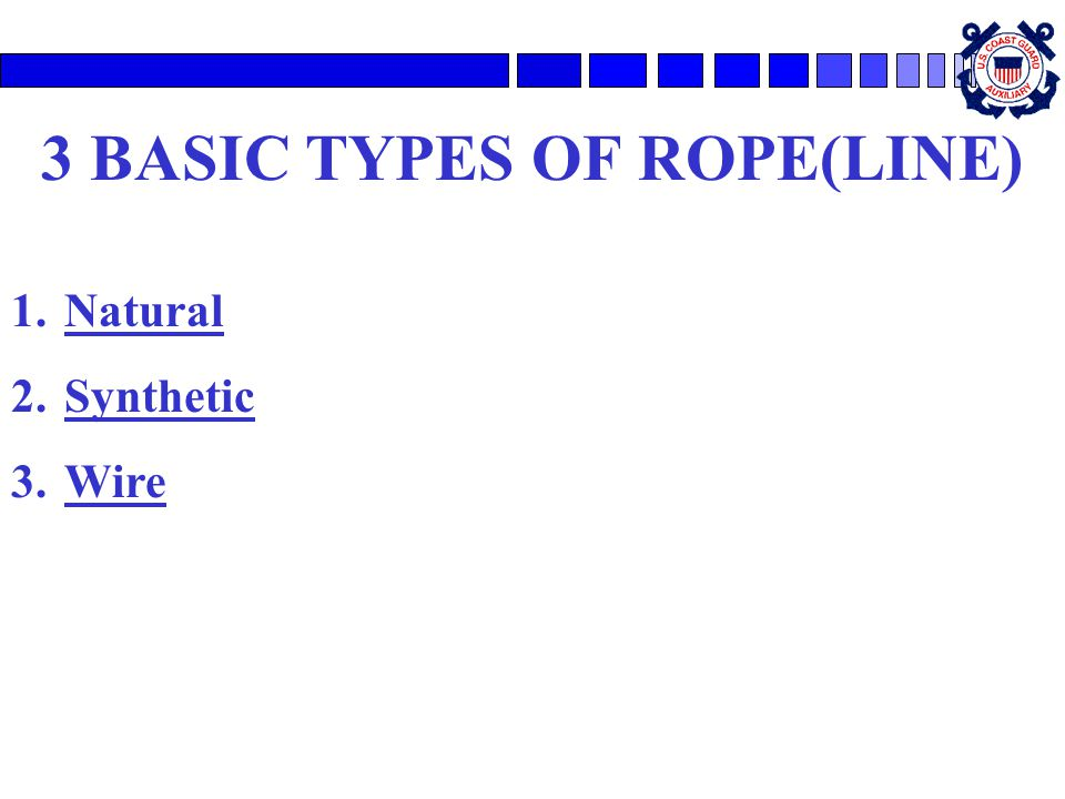 3 BASIC TYPES OF ROPE(LINE)