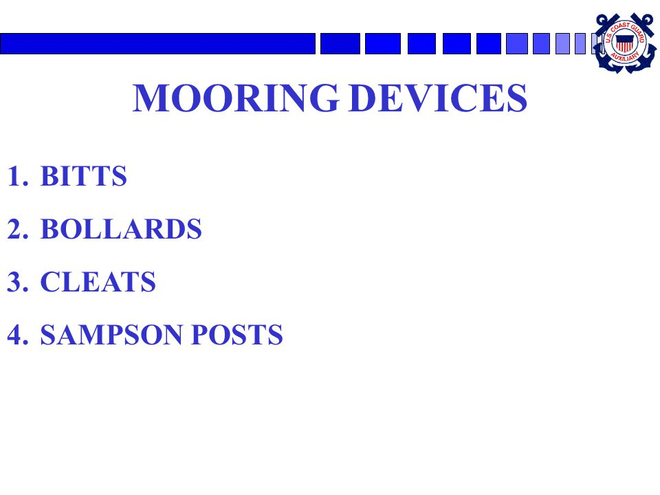 MOORING DEVICES BITTS BOLLARDS CLEATS SAMPSON POSTS