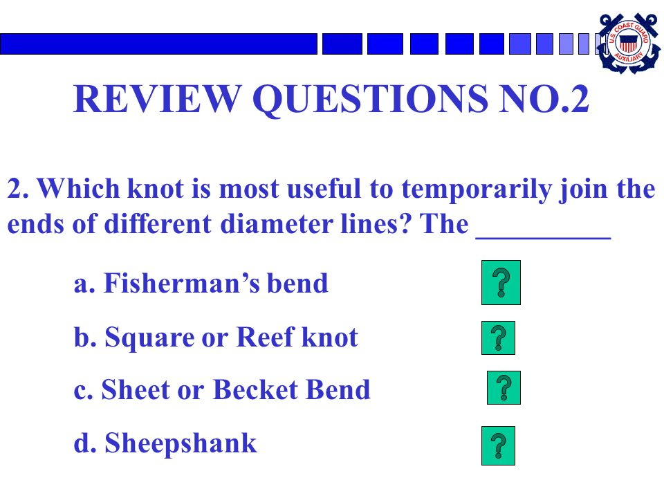 REVIEW QUESTIONS NO.2 a. Fisherman's bend