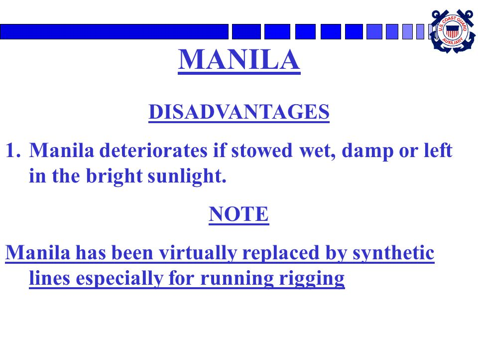 MANILA DISADVANTAGES. Manila deteriorates if stowed wet, damp or left in the bright sunlight. NOTE.