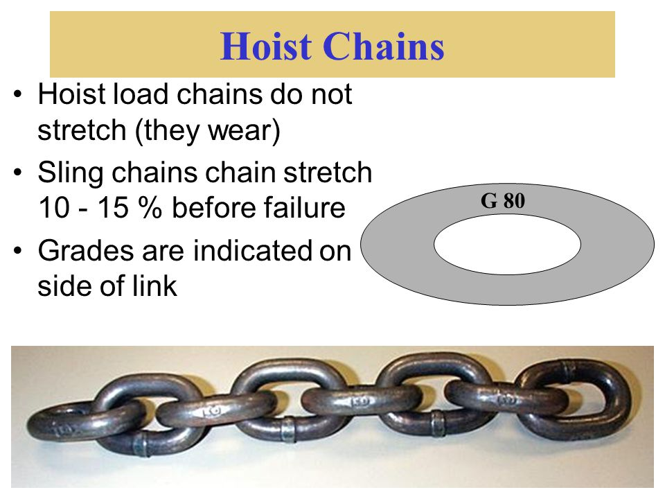 Hoist Chains Hoist load chains do not stretch (they wear)
