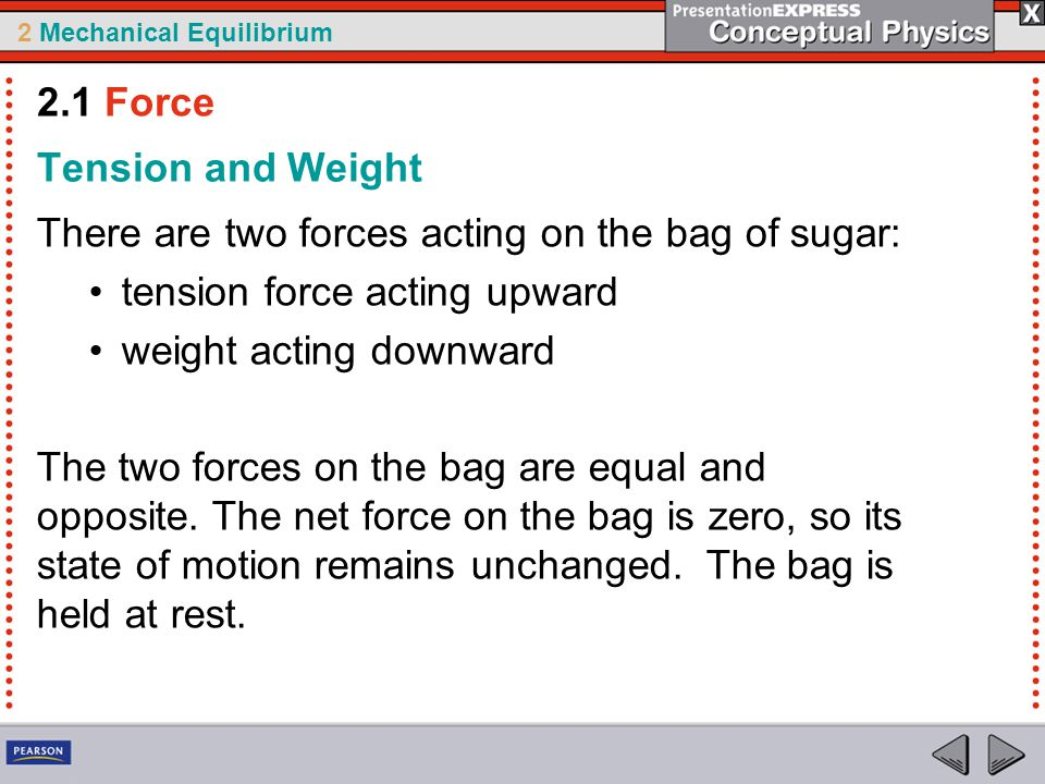 2.1 Force Tension and Weight. There are two forces acting on the bag of sugar: tension force acting upward.