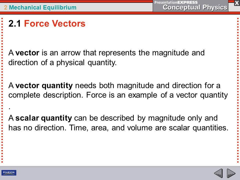 2.1 Force Vectors A vector is an arrow that represents the magnitude and direction of a physical quantity.