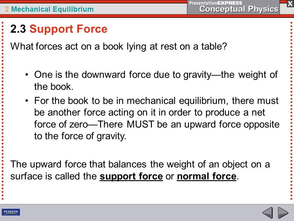 2.3 Support Force What forces act on a book lying at rest on a table