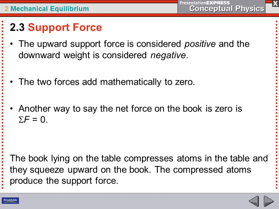 2.3 Support Force The upward support force is considered positive and the downward weight is considered negative.