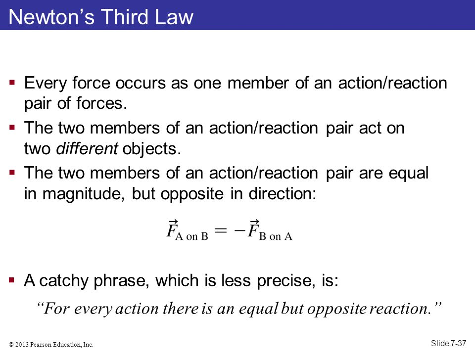 For every action there is an equal but opposite reaction.