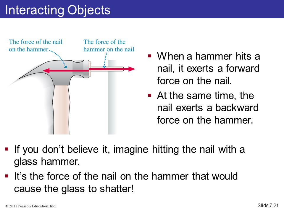 Interacting Objects When a hammer hits a nail, it exerts a forward force on the nail.