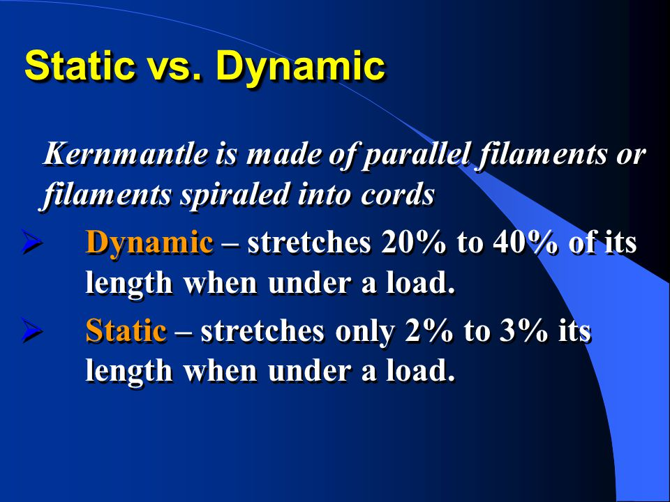 Static vs. Dynamic Kernmantle is made of parallel filaments or filaments spiraled into cords.