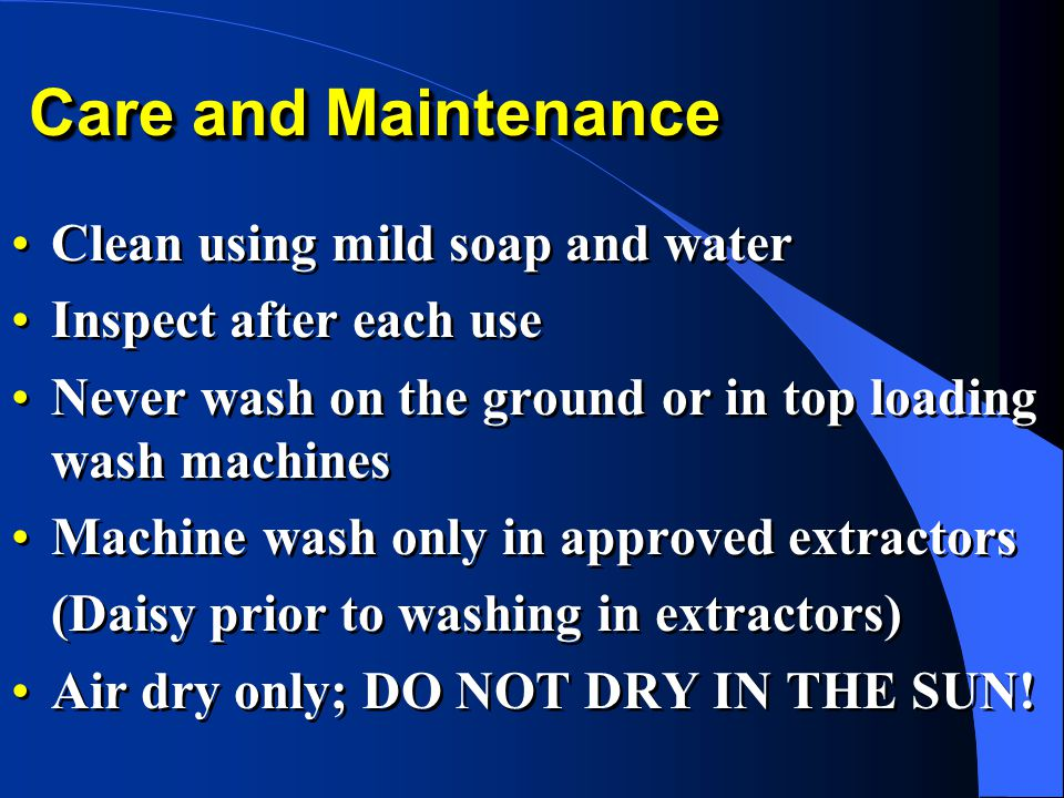 Care and Maintenance Clean using mild soap and water