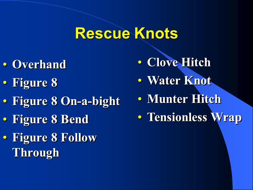 Rescue Knots Clove Hitch Overhand Water Knot Figure 8 Munter Hitch