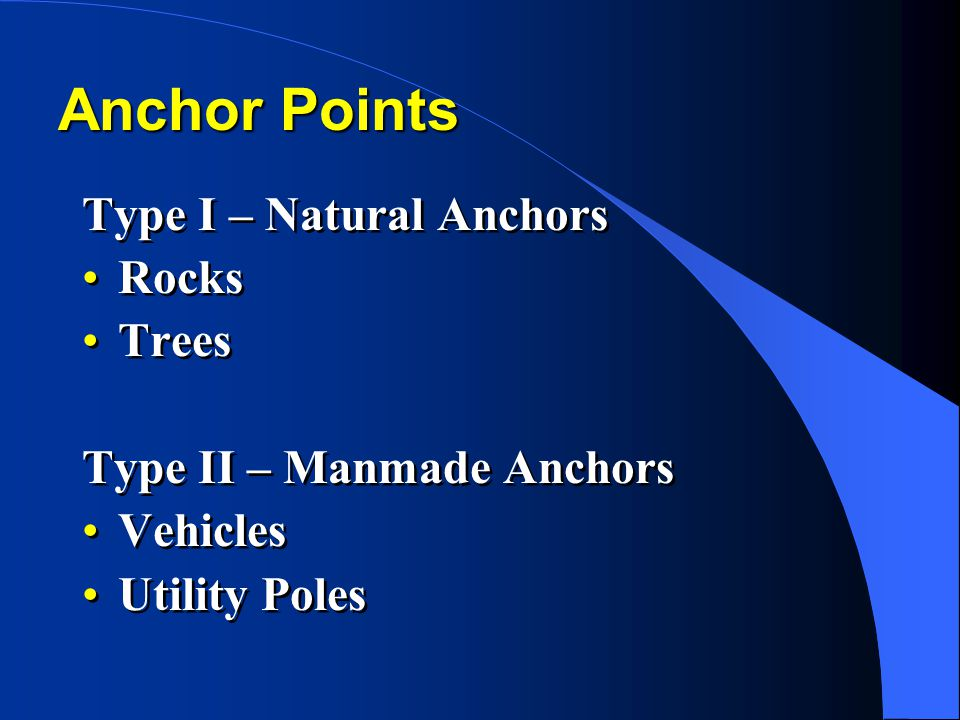 Anchor Points Type I – Natural Anchors Rocks Trees