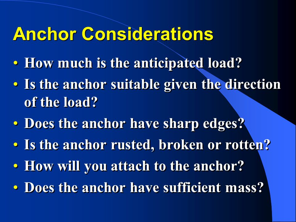 Anchor Considerations
