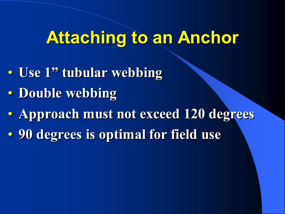 Attaching to an Anchor Use 1 tubular webbing Double webbing