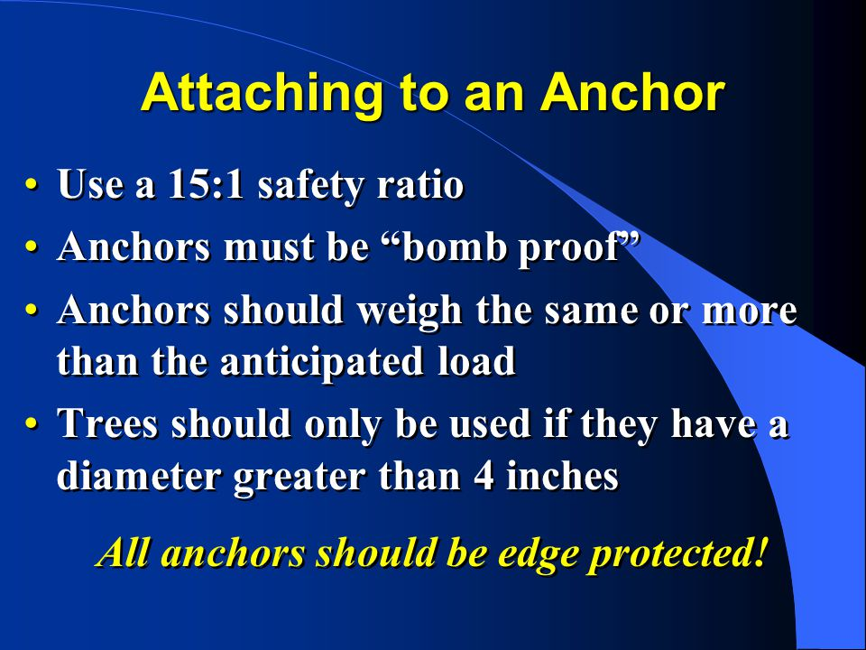 All anchors should be edge protected!