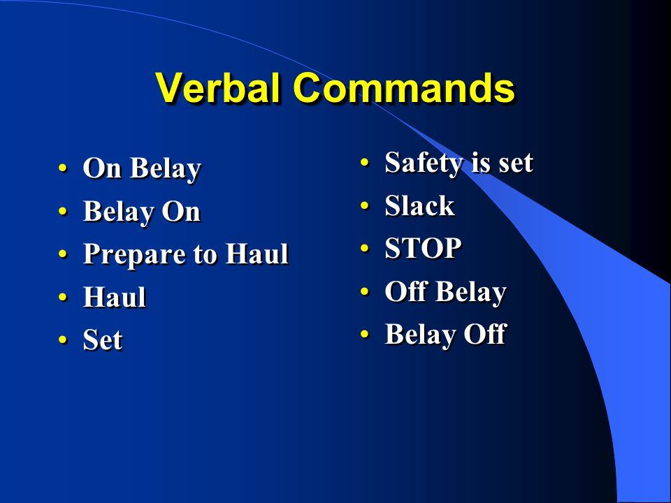 Verbal Commands Safety is set On Belay Slack Belay On STOP