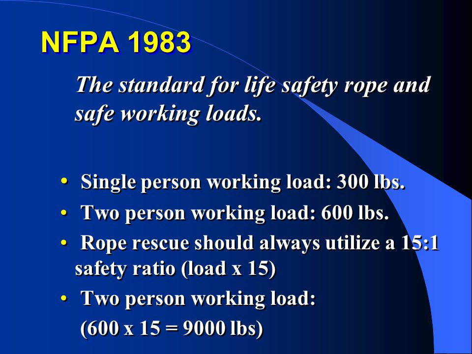 NFPA 1983 The standard for life safety rope and safe working loads.