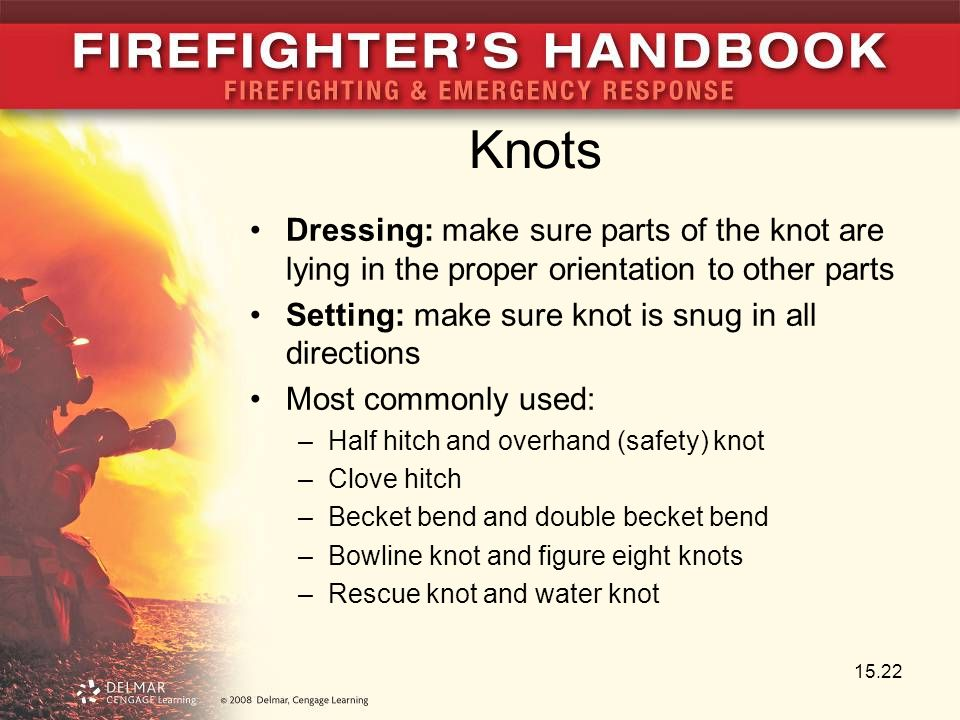 Knots Dressing: make sure parts of the knot are lying in the proper orientation to other parts. Setting: make sure knot is snug in all directions.