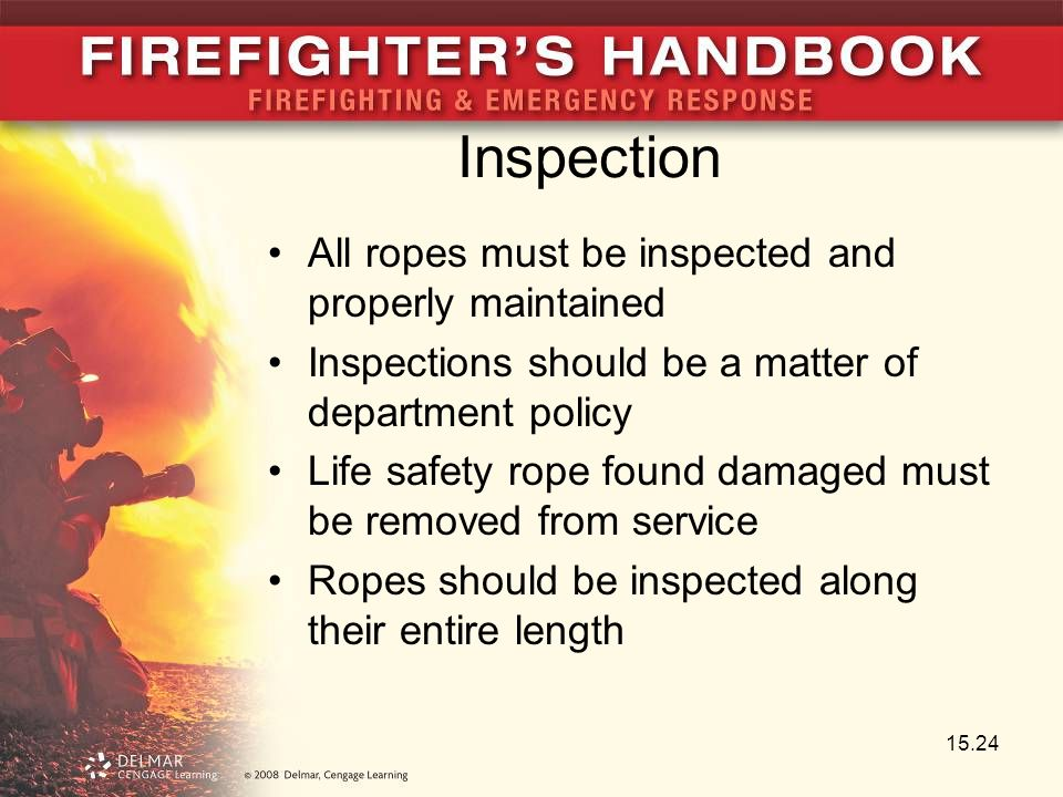 Inspection All ropes must be inspected and properly maintained