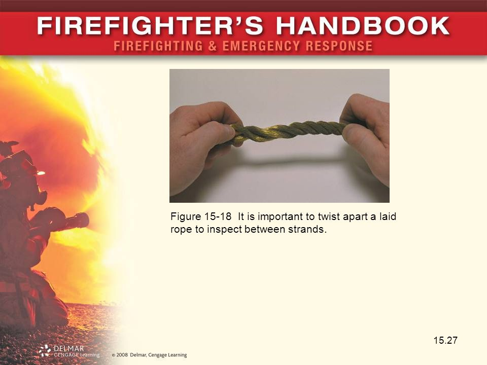 Figure 15-18 It is important to twist apart a laid rope to inspect between strands.