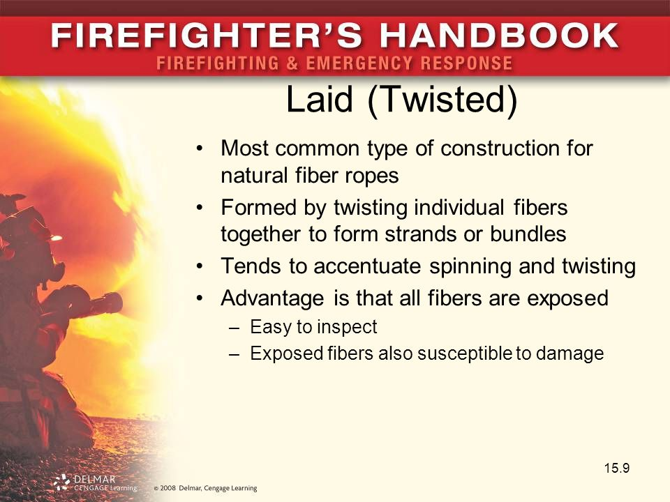 Laid (Twisted) Most common type of construction for natural fiber ropes. Formed by twisting individual fibers together to form strands or bundles.