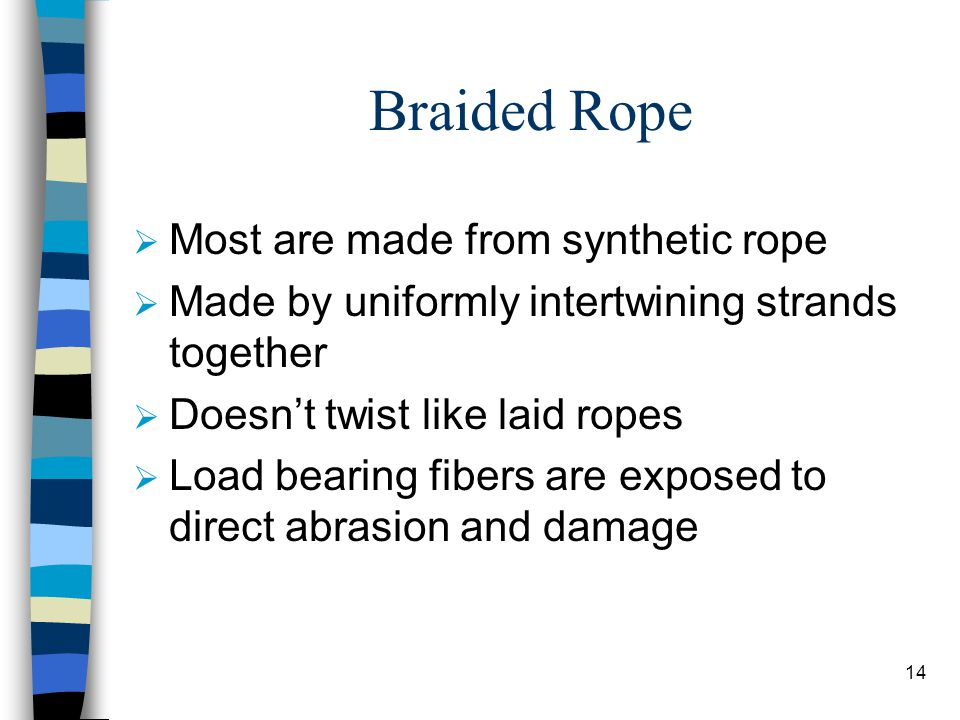Braided Rope Most are made from synthetic rope