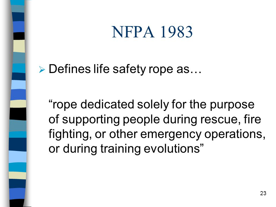 NFPA 1983 Defines life safety rope as…