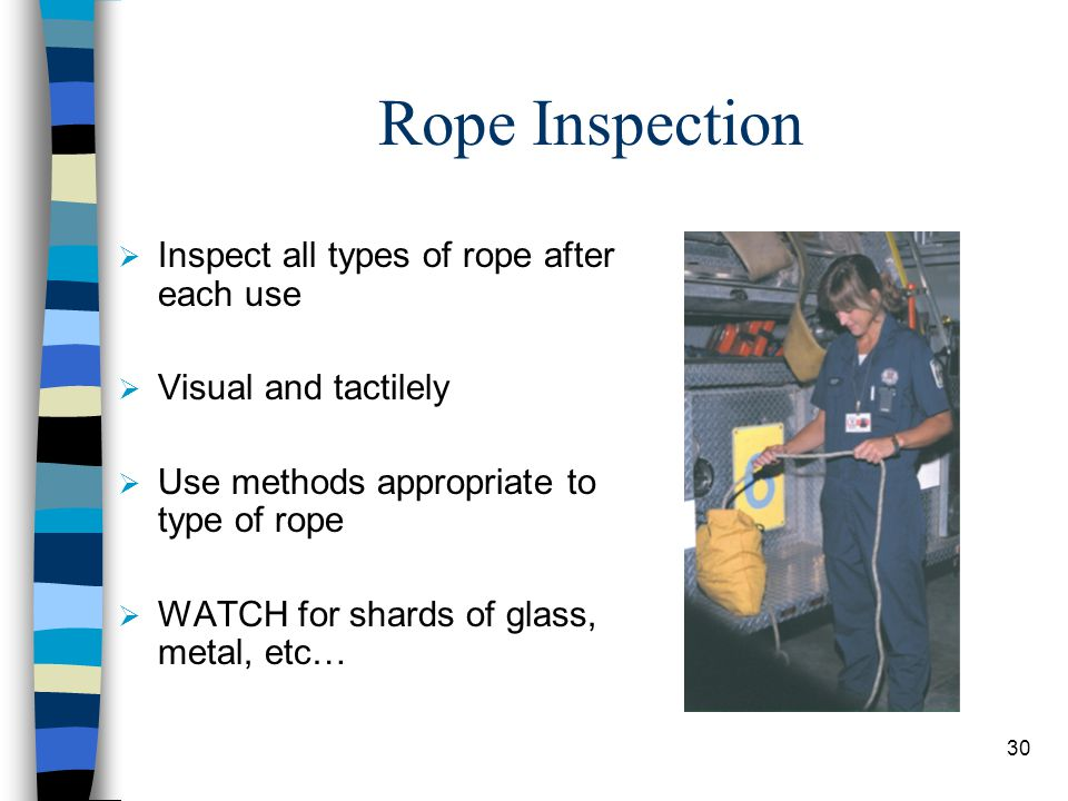 Rope Inspection Inspect all types of rope after each use