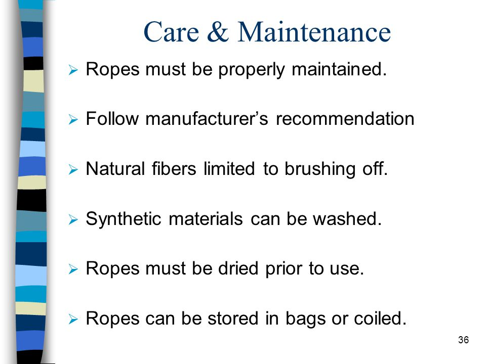 Care & Maintenance Ropes must be properly maintained.