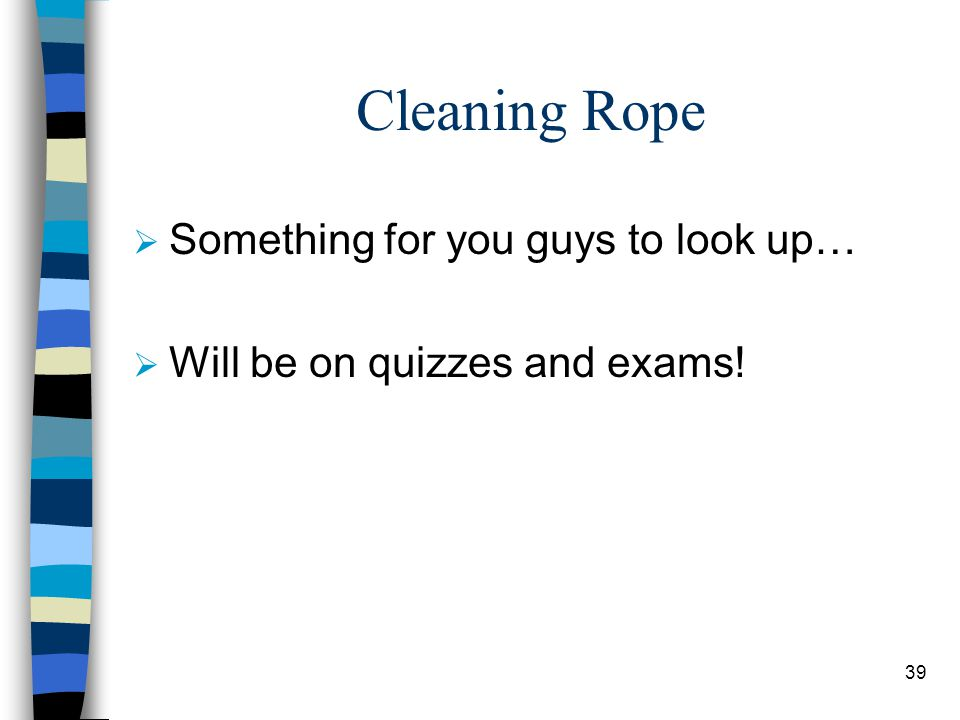 Cleaning Rope Something for you guys to look up…