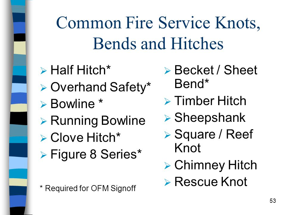 Common Fire Service Knots, Bends and Hitches