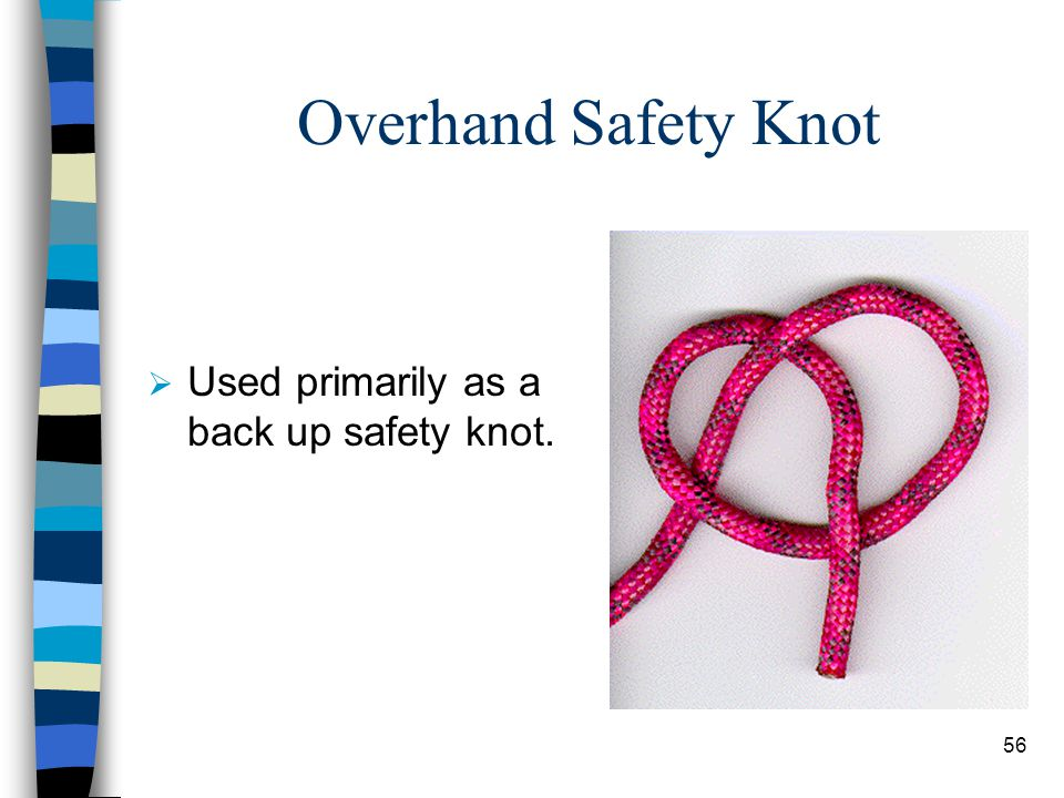 Overhand Safety Knot Used primarily as a back up safety knot.