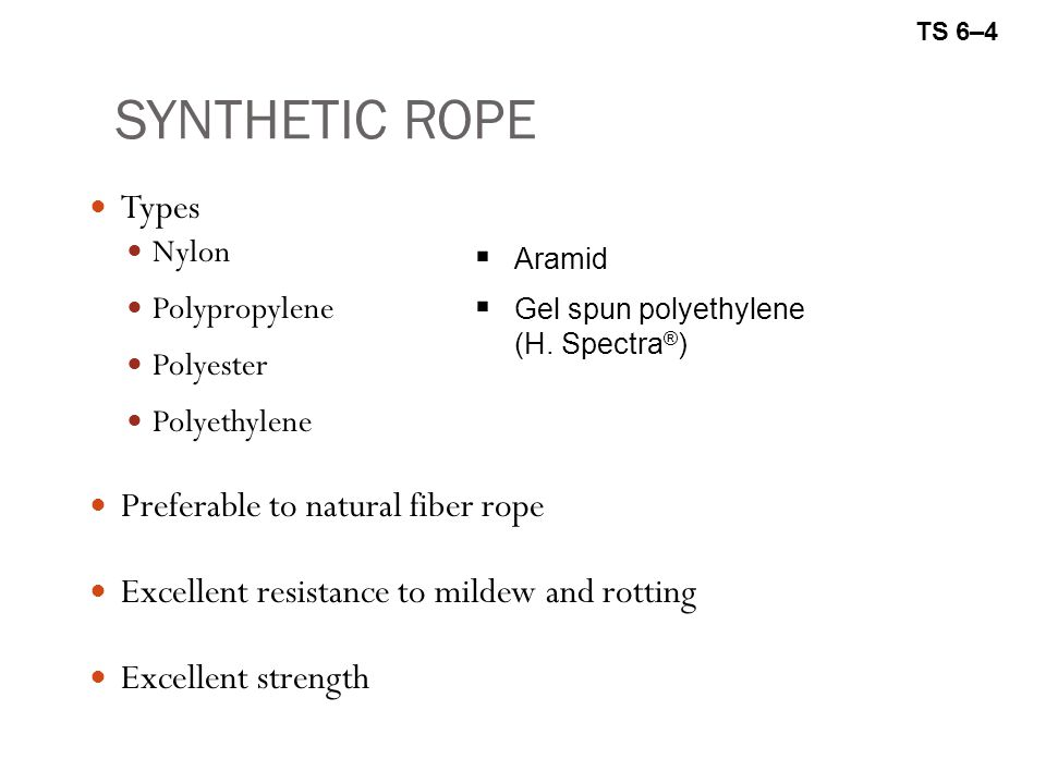 SYNTHETIC ROPE Types Preferable to natural fiber rope