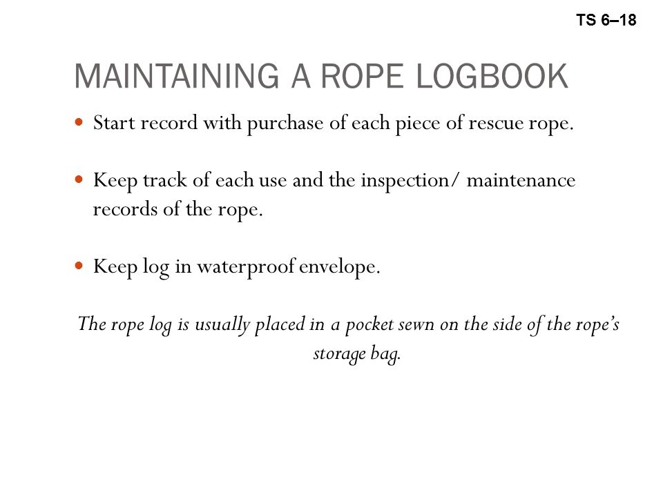 MAINTAINING A ROPE LOGBOOK