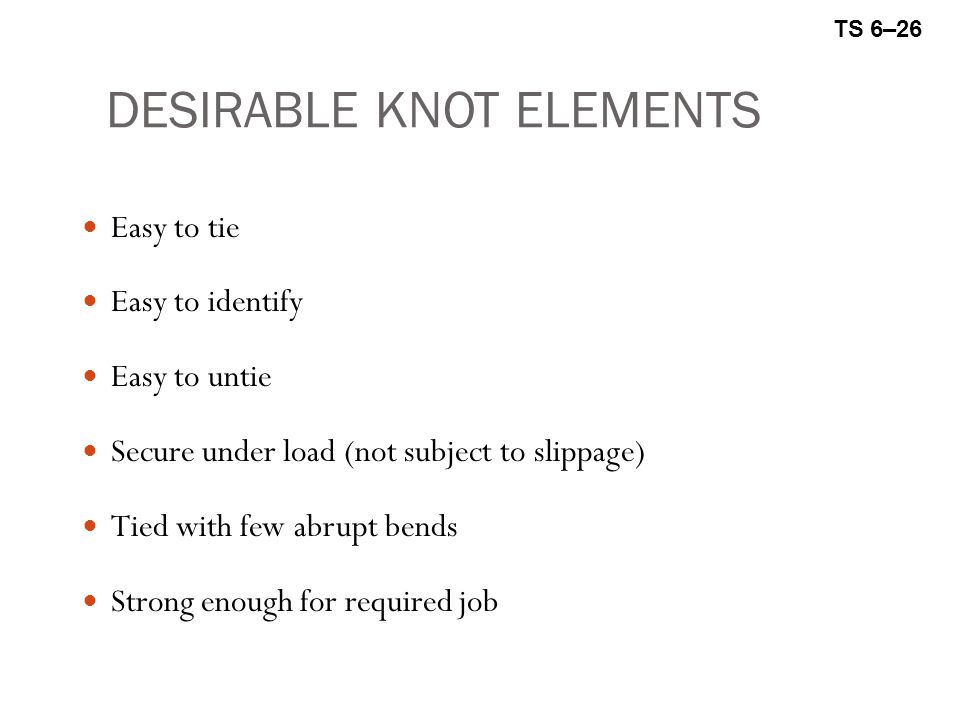 DESIRABLE KNOT ELEMENTS