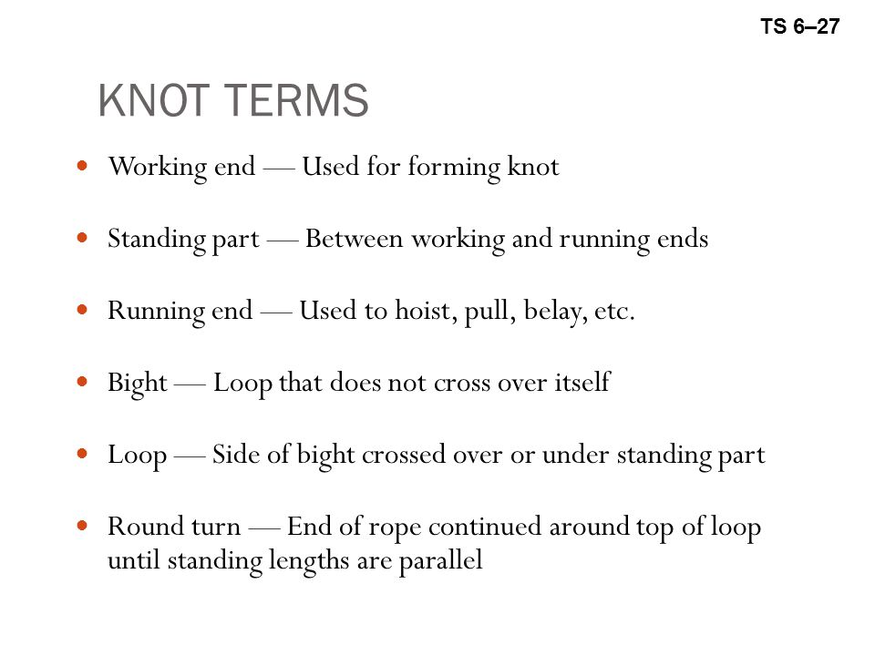 KNOT TERMS Working end — Used for forming knot