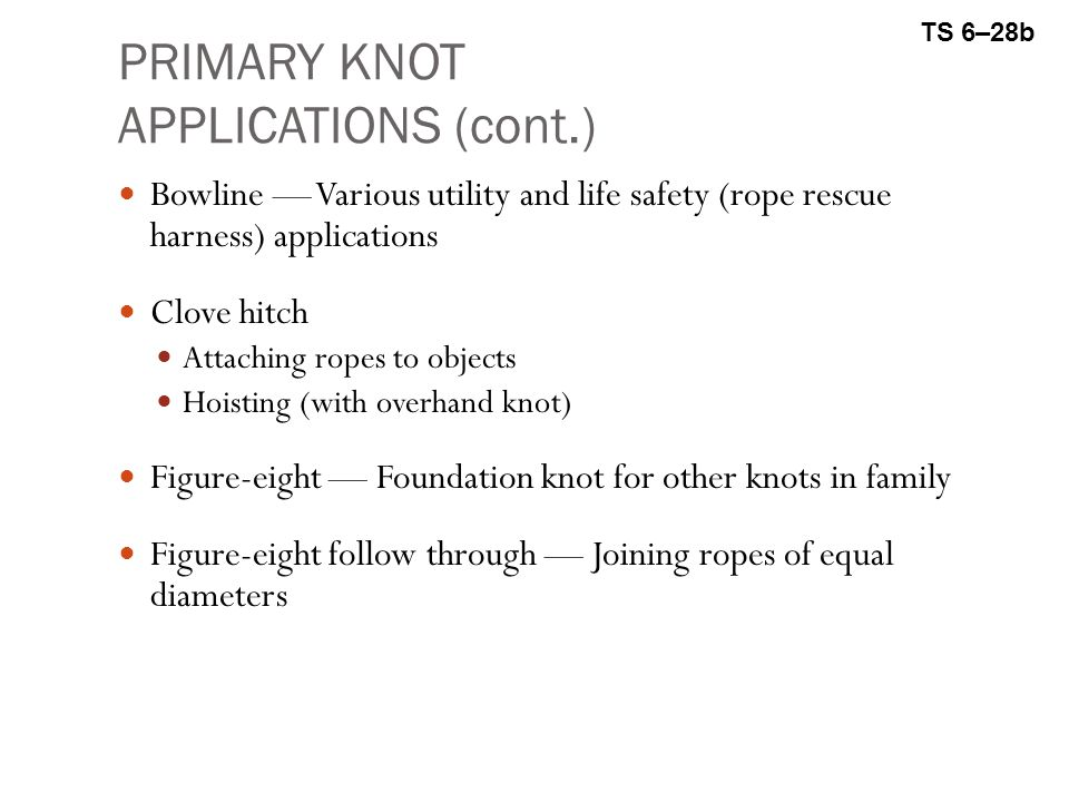 PRIMARY KNOT APPLICATIONS (cont.)