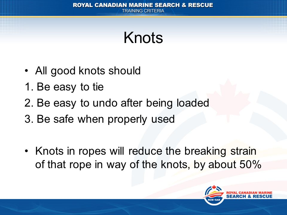 Knots All good knots should 1. Be easy to tie