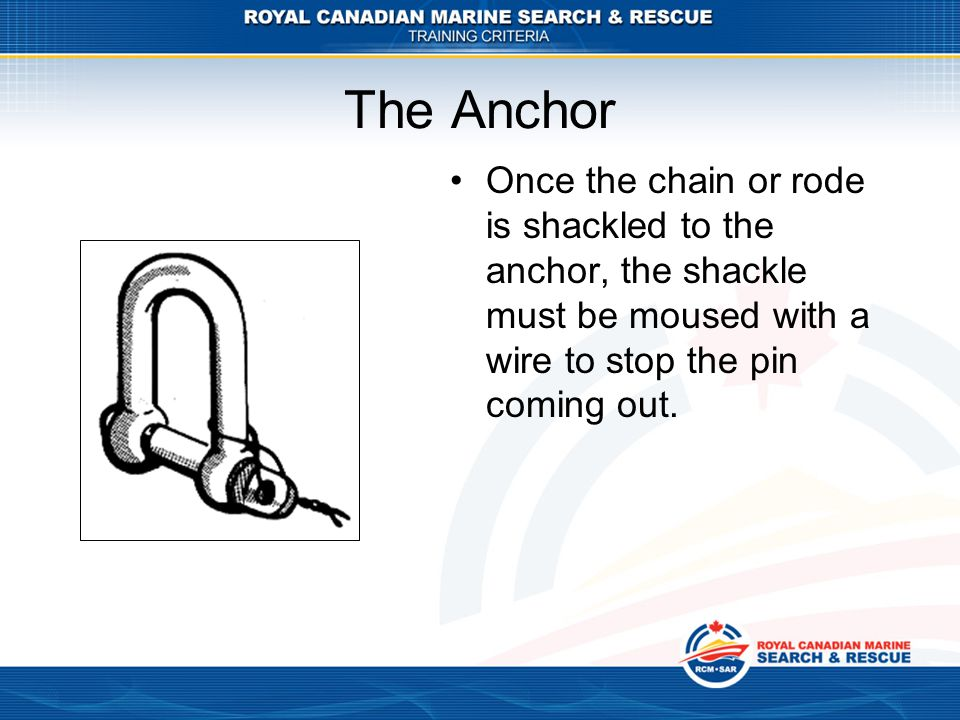 The Anchor Once the chain or rode is shackled to the anchor, the shackle must be moused with a wire to stop the pin coming out.