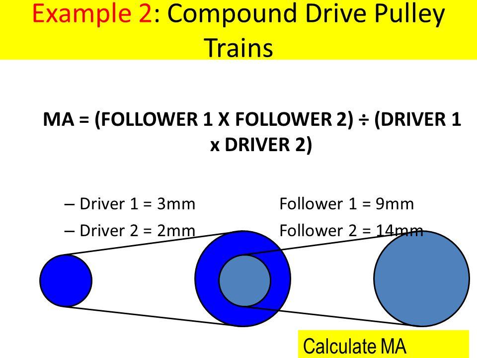 MA = (FOLLOWER 1 X FOLLOWER 2) ÷ (DRIVER 1 x DRIVER 2)