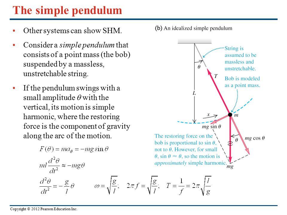 The simple pendulum Other systems can show SHM.