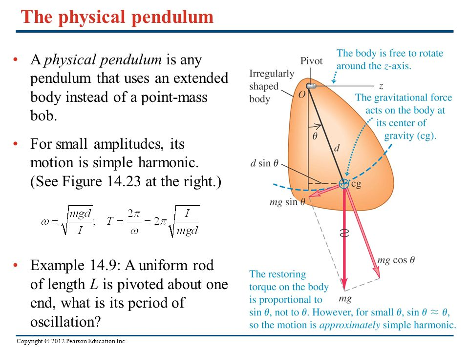 The physical pendulum A physical pendulum is any pendulum that uses an extended body instead of a point-mass bob.