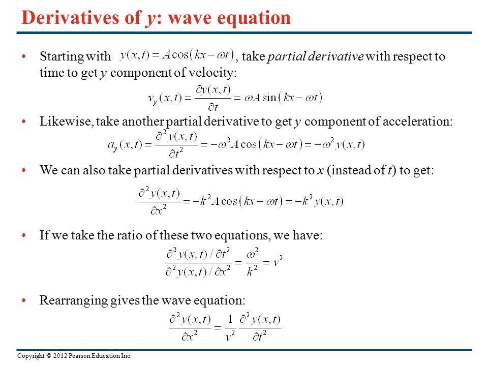 Derivatives of y: wave equation