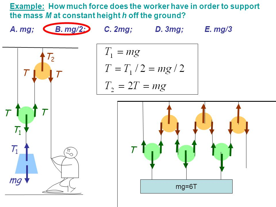 Example: How much force does the worker have in order to support the mass M at constant height h off the ground