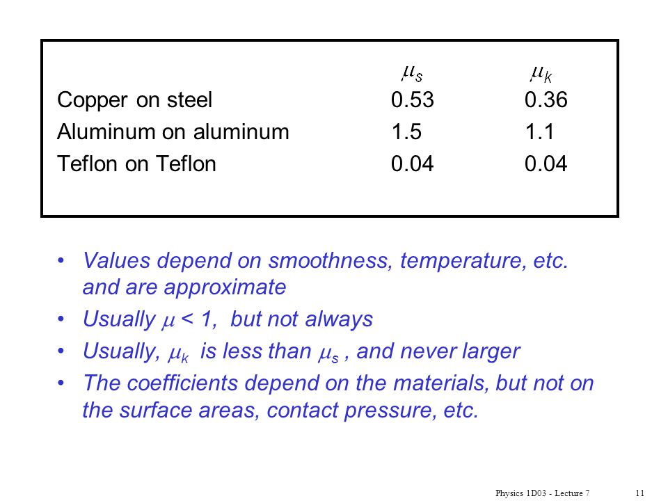 Values depend on smoothness, temperature, etc. and are approximate