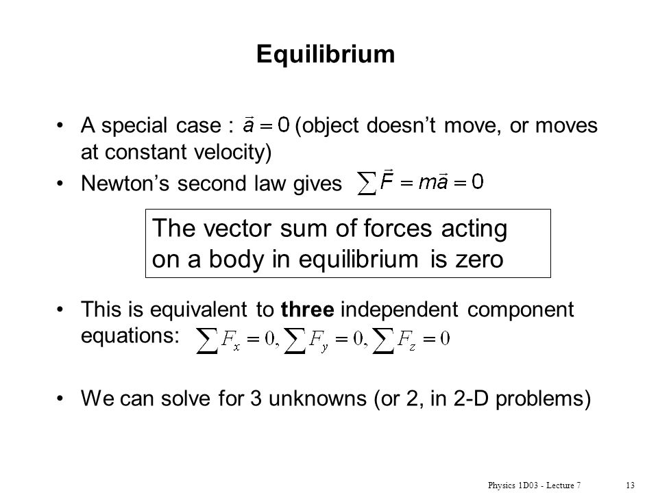 The vector sum of forces acting on a body in equilibrium is zero