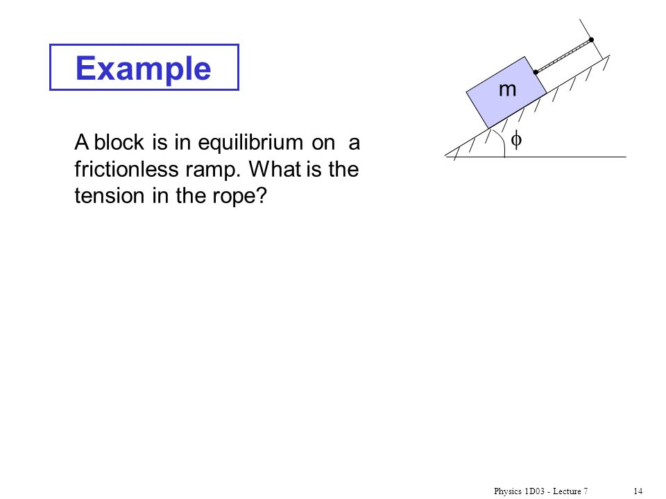 Example m. f. A block is in equilibrium on a frictionless ramp. What is the tension in the rope