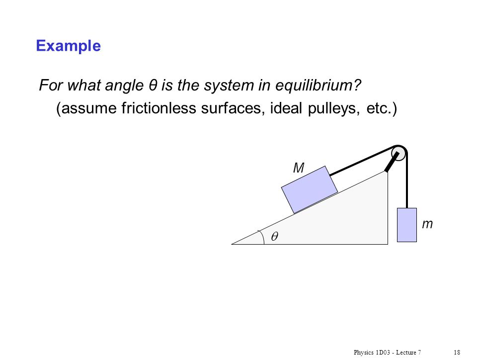 For what angle θ is the system in equilibrium
